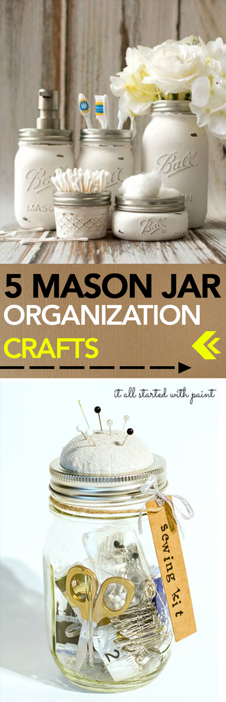 Mason jar organization, mason jar, DIY organization projects, popular pin, DIY home organization, home organization, organize your home.
