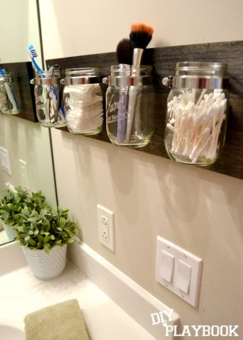 Mason jar organization, mason jar, DIY organization projects, popular pin, DIY home organization, home organization, organize your home.