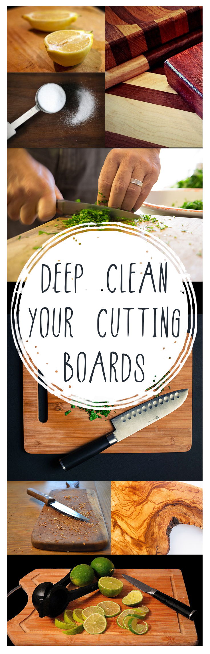 Deep clean your cutting boards, how to clean cutting boards, cutting board cleaning tips, popular pin, cleaning hacks, clean kitchen, dishwashing tips,