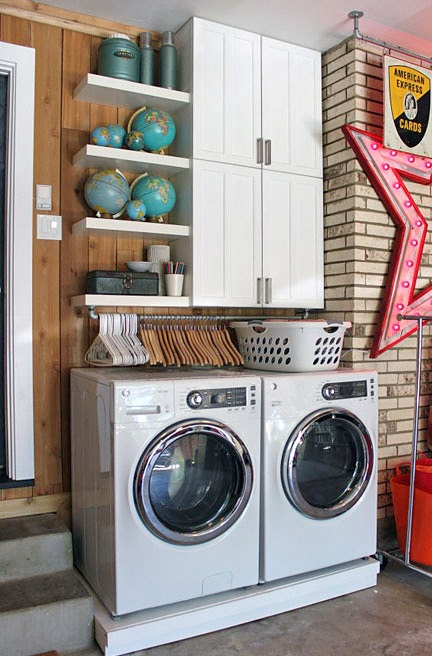 Small laundry room, small space organization, organization, organization hacks, organization tricks, popular pin, small space cleaning hacks, small space living.