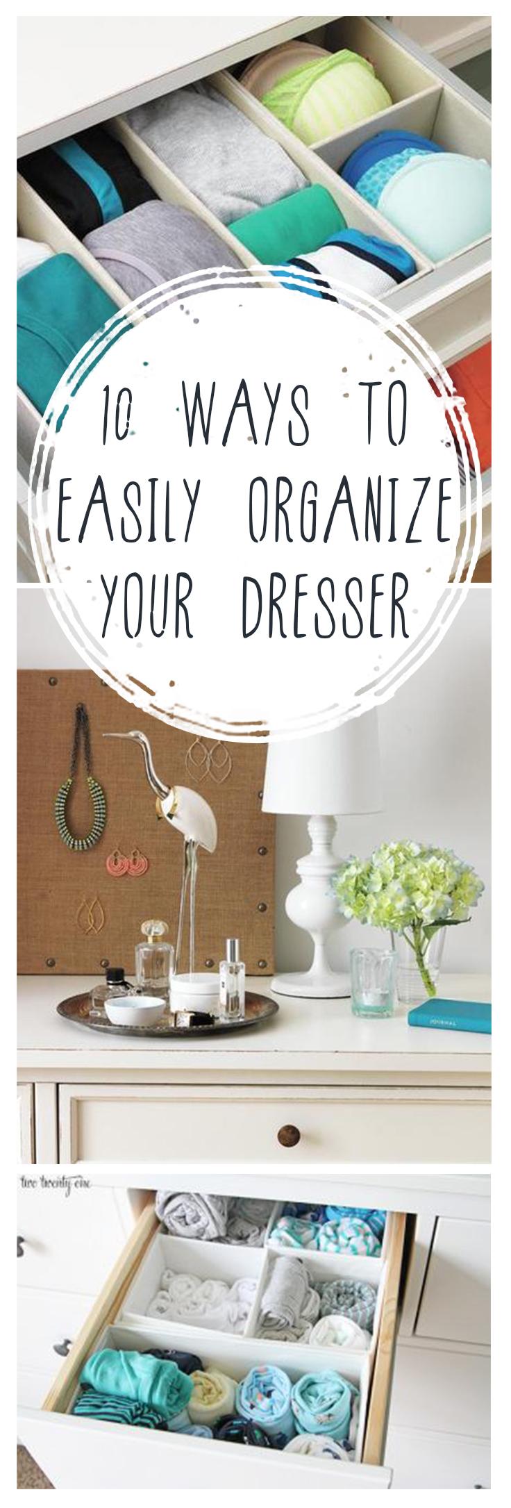 Organize, how to organize your dresser, small space organization hacks, popular pin, DIY organization, organize your home, DIY storage.