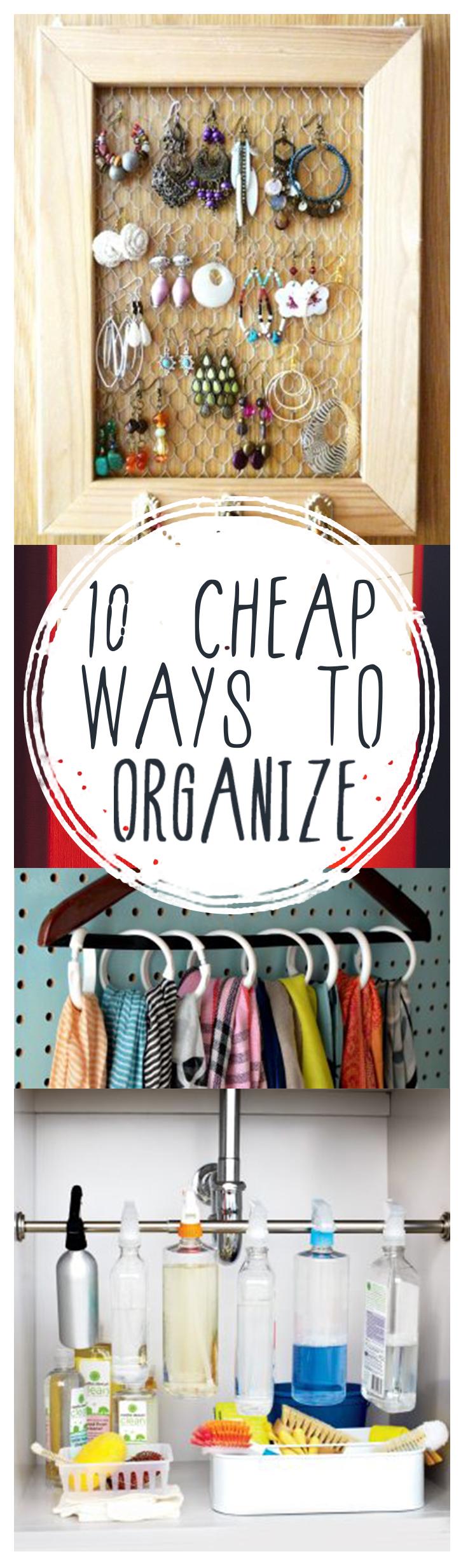 Cheap organization, cheap organization ideas, easy organization, DIY organization, frugal organization, popular pin, frugal living, home organization.